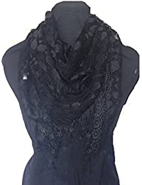 Black leaves designs lace triangle scarf. a lovely fashion item. Fantastic Gift