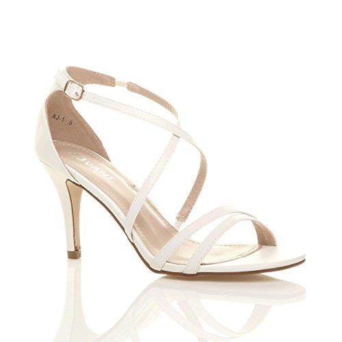 Donna tacco alto medio cinghietti incrociato matrimonio sera sandali taglia Opaco bianco
