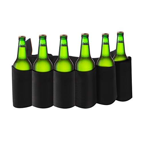 Pack 6 Kostüm Bier - Oramics Dosen- und Biergürtel für Fasching Karneval, Flaschengürtel für Junggesellenabschied, Getränkegürtel für 6 Dosen oder Flaschen 6-Pack Gürtel