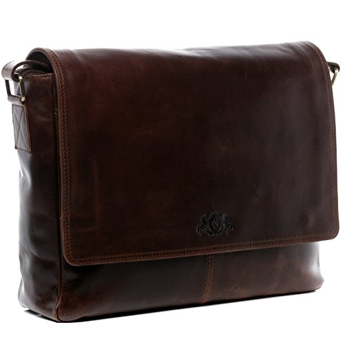 SID & VAIN Laptoptasche Messenger Bag echt Leder Spencer groß Businesstasche 15 Zoll Laptop Umhängetasche XL Herren braun