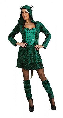 Kostüm Krokodil Frau Kleid grün Tierkostüm Fasching Karneval Reptiel (Large)