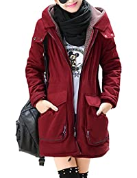 Yasong Women's Girl's Long Military Hooded Quilted Lined Parka Jacket Thick Coat Winter Overcoat