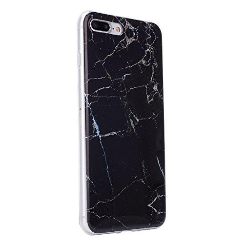 SainCat Coque Housse pour Apple iPhone 7 Plus,Transparent Brillante Coque Silicone Etui Housse,iPhone 7 Plus Silicone Case Soft Gel Cover Anti-Scratch Transparent Case TPU Cover,Fonction Support Prote marbre-Roche noir