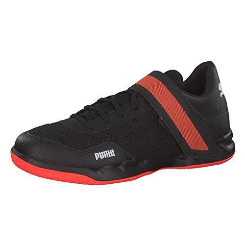 Puma Rise Xt 4, Scarpe da Calcetto Indoor Uomo, Black/Silver/Nrgy Red 01, 9.5 EU