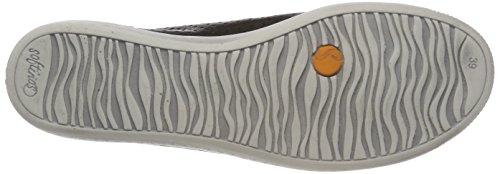Softinos Damen Ica388sof Smooth/Suede Sneaker Schwarz (Black/Dk.Grey)