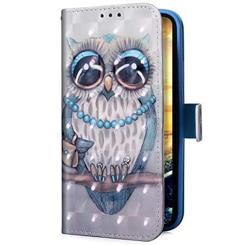 Uposao Kompatibel mit Samsung Galaxy A50 Handyhülle Glitzer Bling 3D Bunt Leder Hülle Flip Schutzhülle Handytasche Brieftasche Wallet Bookstyle Case Magnet Ständer Kartenfach,Eule