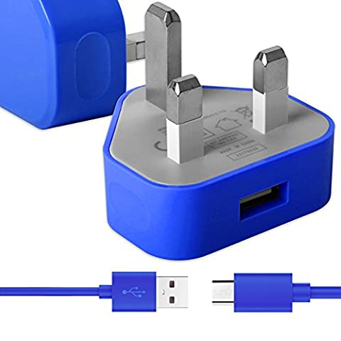 Blau Dünner USB 2.0 Micro USB MicroUSB SYNC & CHARGE Verbinden Sie das Ladegerät Tangle Proof Cable (1.1 Meter) mit UK 3 Pin 1000 mAh Netzteilstecker für Huawei Ascend Mate 2 4g