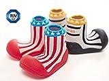 Attipas Little Star (19, schwarz) - Kinder Barfuß-Schuhe, ergonomische Baby Lauflernschuhe, atmungsaktive Kinder Hauschuhe ABS Socken Gummisohle Babyschuhe Antirutsch