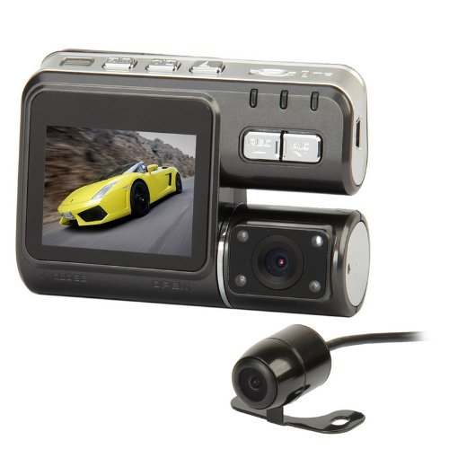 Preisvergleich Produktbild OEM Neutral TX1352.0TFT 3.0MP 4LED IR Nachtsicht Dual Lens Car DVR Camcorder (mit Fernbedienung)-dunkelgrau
