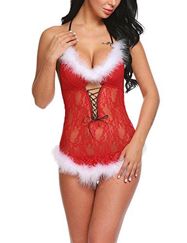 Avidlove Damen Weihnachten Kleid Bodys Dessous Set Sexy Bodysuit Negligee Babydoll Reizwäsche Erotik Spitze Lingerie Nachtwäsche Weihnachtskostüm Transparent mit Slip Rot L - Spitze Stoff Trim Doll