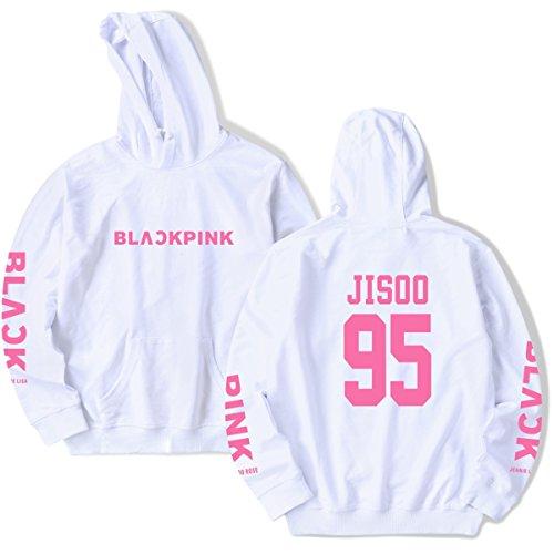 SIMYJOY Amants Cadeau de Saint Valentin KPOP BLACKPINK Sweats Pulls BlackPink Collège Hip Hop Sweat Shirt Pour Hommes Femmes Adolescents blanc Jisoo 95