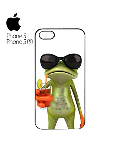Frog Funny Cocktail Mobile Cell Phone Case Cover iPhone 5c Black Weiß