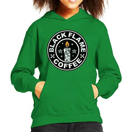 Cloud City 7 90s Hocus Pocus Black Flame Candle Coffee Logo Kid's Hooded Sweatshirt