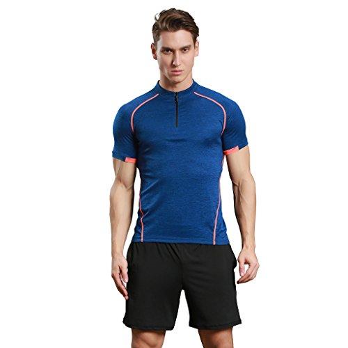 Jiayiqi Männer Kontrast Farbe Tees Schnell Trocknende Outdoor Wandern Reißverschluss T-Shirts Blau