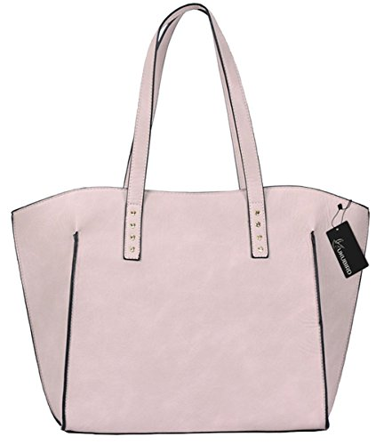 Kukubird Halia Di Alta Qualità Ecopelle Due Cinghie Design Top-maniglia Spalla Tote Borsetta Pink