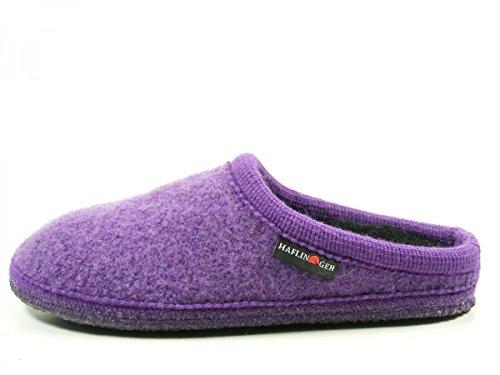 Haflinger 611086 Walktoffel uni Damen Hausschuhe Pantoffeln Wolle Violett