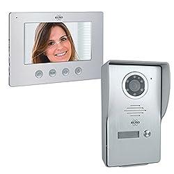 ELRO DV477W Video Türsprechanlage mit Farbdisplay, Kamera mit Nachtsicht, 4-Draht Technik, 16 Klingeltöne, Grau, One Size, 1 Familie