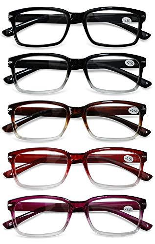 KOOSUFA Lesebrille Herren Damen Leicht Retro Lesehilfen Sehhilfe Qualität Rechteckige Vollrandbrille Arbeitsplatzbrille Anti Müdigkeit Brille 1,0 1,5 2,0 2,5 3,0 3,5 4,0 (5 Farben Set, 2.5)