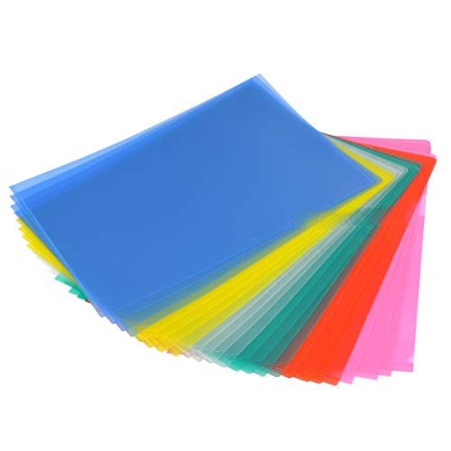 YOTINO Aktenhülle Projekt Tasche A4 Dokumentenordner 24 Stück aus PP 6 Farben (blau,grün,weiß,rosa,rot,gelb) Sichthüllen dokumentenecht oben und seitlich offen