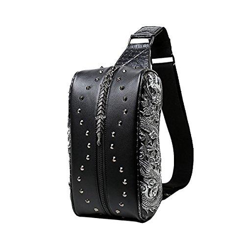 Yy.fpu Brusttasche Männer Nationaler Wind Führenden 3D-Paket Art Und Weise Kühle Schulter Diagonal Tasche Gezeiten Taschen Handtaschen Reine Schwarze Tasche Black