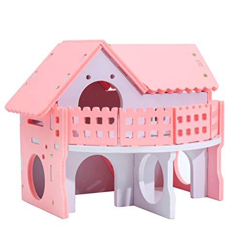 Popetpop casetta per criceti in legno capanna per nascondiglio cage cottage per casette nest cottage per topo piccolo pet mouse rosa