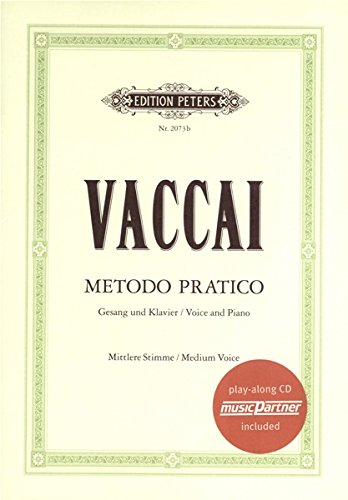 Nicola Vaccai: Metodo Pratico (Medium Voice) (Book/CD). Partitions, CD pour Voix Moyenne, Accompagnement Piano