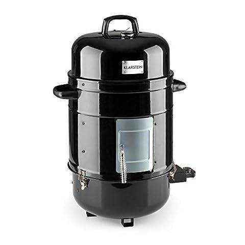 Klarstein Barney Barbecue 3-en-1 électrique Smoker • Puissance de 1800W • Trois étages de 40 cm de diamètre chacun • Elément chauffant réglable en continu • Thermomètre intégré au couvercle pour surveiller la température intérieure • 10 kg • Noir