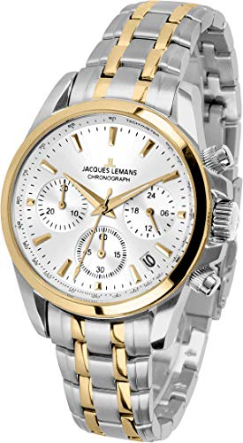 JACQUES LEMANS Damenuhr Liverpool  Metallband massiv Edelstahl ip-gold / Bicolor  Chronograph 1-1863ZF