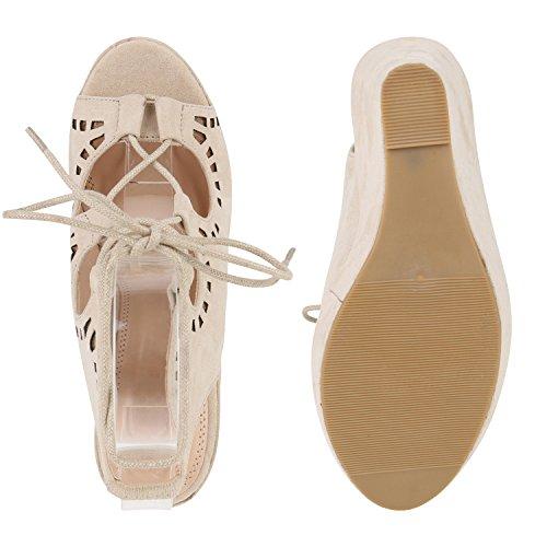 ... Schicke Damen Sandaletten   Sandalen mit Keilabsatz Veloursleder-Optik    Plateau Sandaletten Bast   Sommer 2747942de9