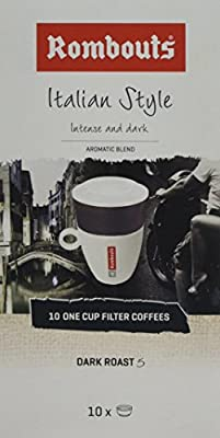 Rombouts Italian Ground Coffee One Cup Filters, 62 g, Pack of 4 from Koffie F. Rombouts N.V.