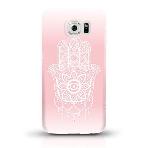 """JUNIWORDS Handyhüllen Slim Case für Samsung Galaxy S6 - Motiv """"Bunter Elefant schwarz"""" Schutzhülle für Ihr Smartphone Hand of Fatima rosa"""