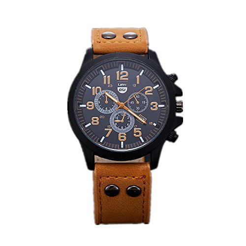 Tonsee Vintage Classic Mens Waterproof Date Leather Strap Sport Quartz Army Watch