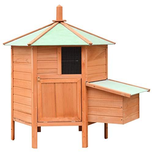 Festnight- Holz-Hühnerstall mit Dach und 2 Fenstern | Winterfest Hühnerhaus aus Kiefernholz | Hühnerkäfig mit Holzrampe | Braun und Grün