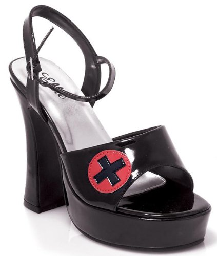 Schwarz Krankenschwester Schuhe Krankenschwestern Lady Fancy Dress Outfit–Größe UK 4& 4,5& 5