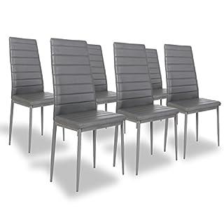 Designetsamaison Lot de 6 chaises Salle à Manger Grises - Lena