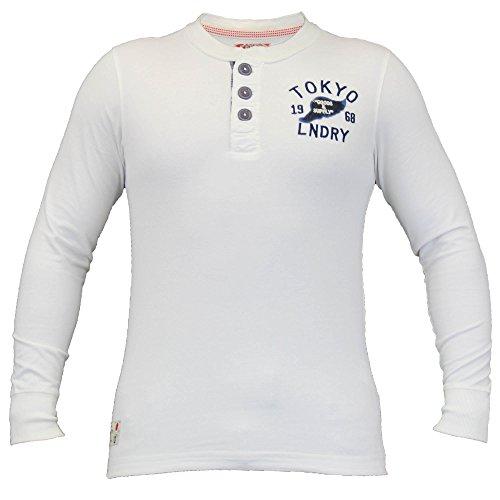 Herren Langärmeliges Oberteil/T-Shirt Von Tokyo Laundry Großvater Ausschnitt Elfenbein - 1U6398