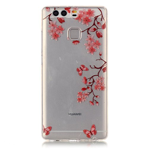 aeeque Custodia morbida in silicone per iPhone 5/5S/SE/6/6S (Plus)/Huawei P9/LG, colorato farfalla fiore disegno trasparente [] posteriore flessibile ultra sottile Bumper [] protezione antiurto Pink Maple Leaf