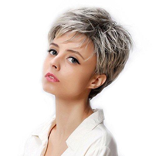 eisereizvolle synthetische flaumige leicht lockige wellenförmige Bob-Haar-Perücken mischen graue weiße drehen herauf kurze Haar-Perücke , a (Mens Weißen Perücken)