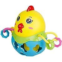 Toyvian Divertido Pollo Jingle Ball Sonajero Inteligencia Entrenamiento Agarre Habilidad Fitness Sonajeros Suaves Juguetes para bebés (Color Aleatorio)