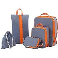 Juego de bolsa de almacenamiento de viaje de 5 piezas Bolsa de equipaje Bolsa de almacenamiento de ropa-Gris