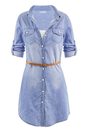 Button Up Shirt Jeans (SheLikes Damen Bluse)