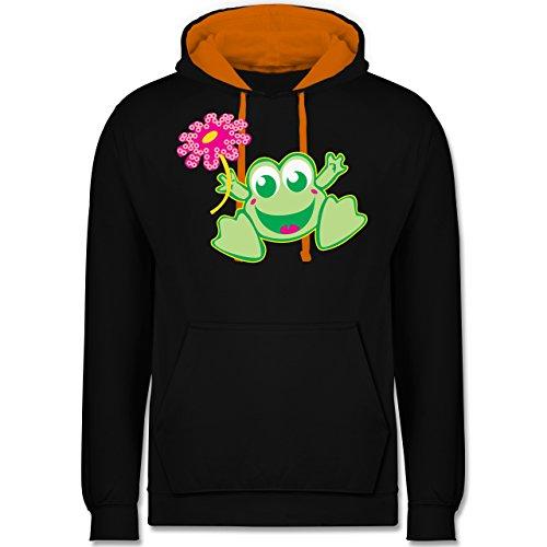 Blumen & Pflanzen - Frosch mit Blume - Kontrast Hoodie Schwarz/Orange