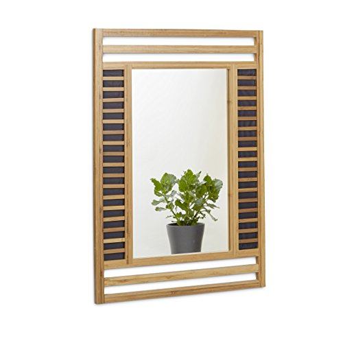 Relaxdays Bamboo Mirror Size: 70...