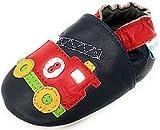 MiniFeet Premium Weiche Leder Babyschuhe Krabbelschuhe, Feuerwehrwagen 2-3 Jahre