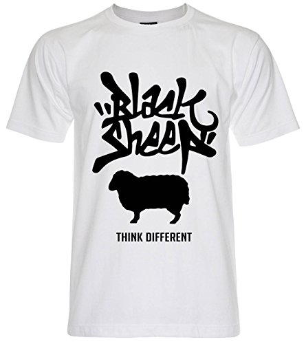 PALLAS Unisex's Black Sheep Think Different T-Shirt AWhite