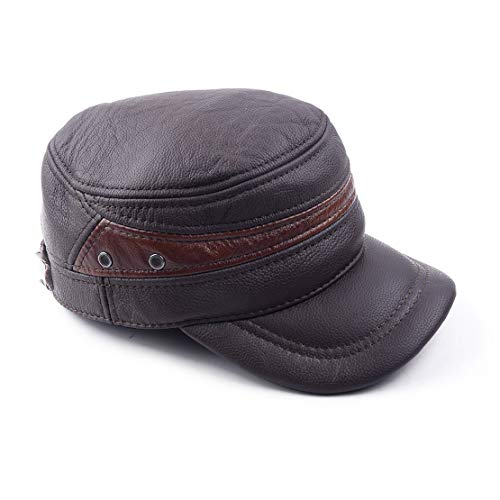 Mens Brown Echtes Rindsleder Military Cap Bboy Biker Hut Winter Warm Ear Protect - Bboy-baseball-cap