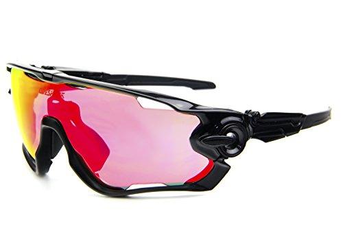 Queshark Fahrradbrille Sport Sonnenbrille für Herren und Damen Polarisierte, Sportbrille mit 3 Wechselobjektiven und Frauen Radsports