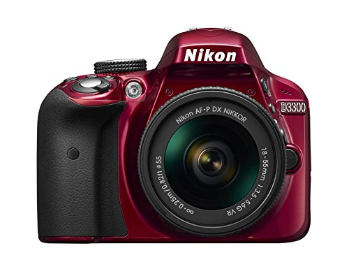 'Nikon D3300+ Nikkor AF-P 18/55vr, Digitale Spiegelreflexkamera, 24,2Megapixel, LCD 3, SD 8GB 300x Premium Lexar, Rot [Nital Card: 4Jahre Garantie]