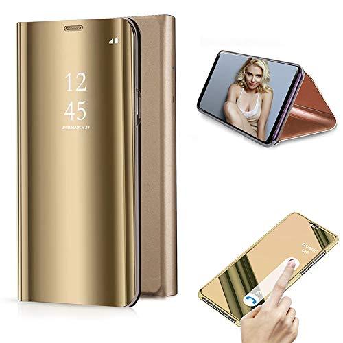Cestor Überzug Mirror Leder Handyhülle für Samsung Galaxy S9 Plus, Gold Kristall Spiegel Flip Handytasche Ultra Dünn Galvanisieren Harte PC Schutzhülle für Samsung Galaxy S9 Plus - Audio Sms Case