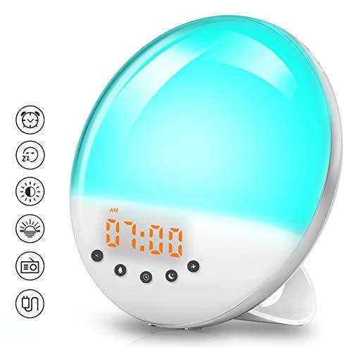 Wake Up Light, VOYOMO Tageslichtwecker Wake Up Licht Lichtwecker mit 30 Helligkeitseinstellungen 8 natürlichen Sounds FM Radio und Snooze Funktion
